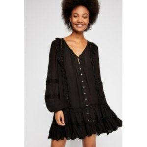 Free People Snow Angel Mini Dress, Black, Size S